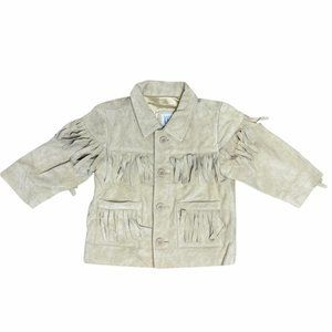 Baby GAP Tan 100%Calf Suede Fringe Full Button Front Jacket 12-24m NWT MSRP 168$